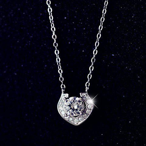 New Alloy Heart Rhinestoned Pendant Necklace