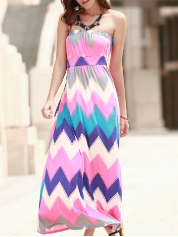 Fashion Strapless Bandeau Maxi Colorful Zig Zag Summer Dress ROSE M
