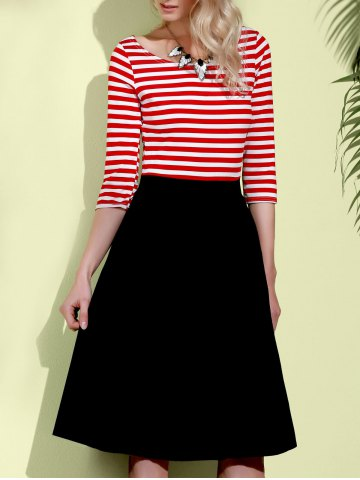 Unique Graceful Round Neck 3/4 Sleeve Striped A-Line Women's Dress