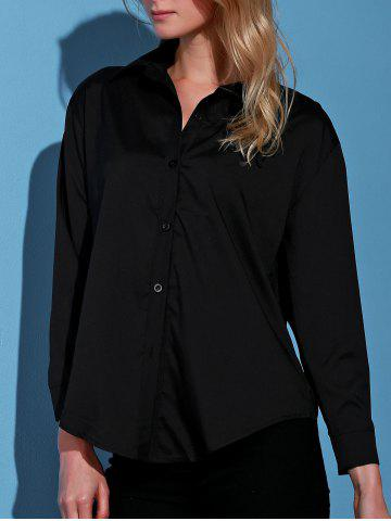Store Stylish Turn-Down Collar Black Single-Breasted Long Sleeve Blouse For Women