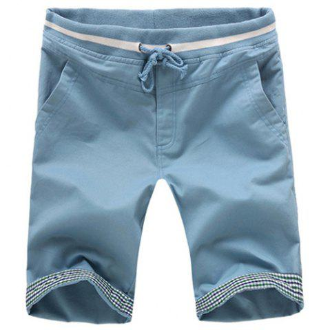 Best Slimming Straight Leg Plaid Spliced Lace-Up Shorts For Men