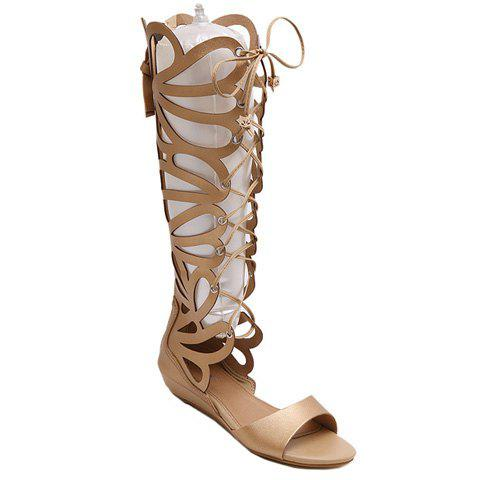 Hot Fashion PU Leather and Hollow Out Design Sandals For Women