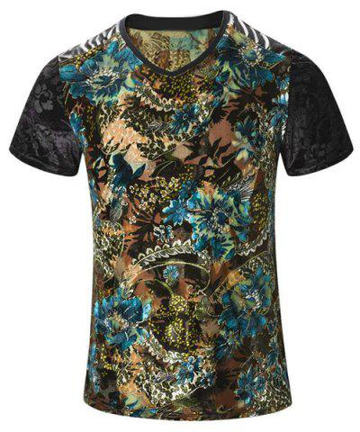 Outfits Plus Size V-Neck PU Leather Spliced Floral Print Short Sleeve T-Shirt For Men