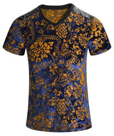 Store Plus Size V-Neck PU Leather Spliced Floral Print Short Sleeves T-Shirt For Men
