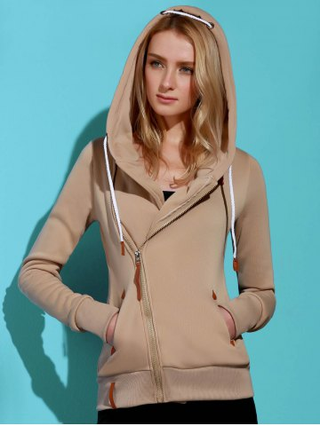 Shop Casual Style Solid Color Long Sleeves Hoodie For Women KHAKI L