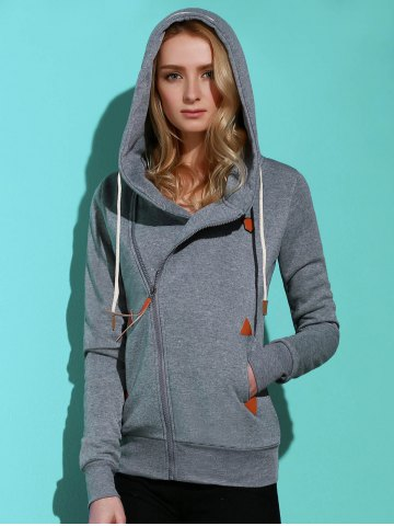 Chic Casual Style Solid Color Long Sleeves Hoodie For Women SMOKY GRAY M