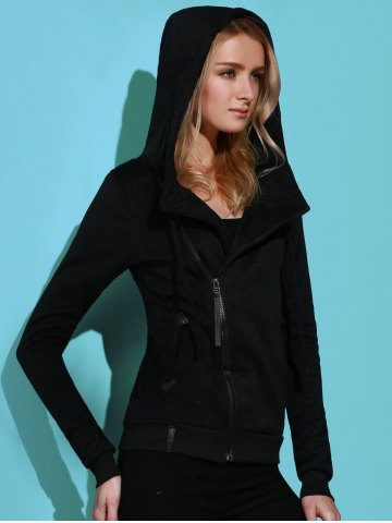 New Casual Style Solid Color Long Sleeves Hoodie For Women - XL BLACK Mobile