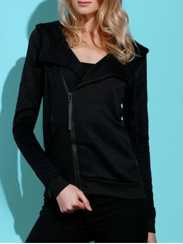 Store Casual Style Solid Color Long Sleeves Hoodie For Women - XL BLACK Mobile