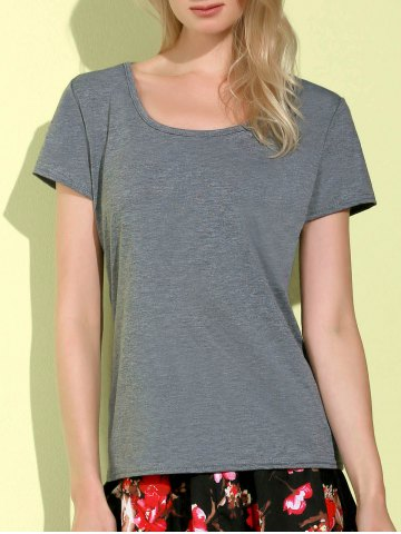 Simple Style Scoop Collar Short Sleeve Slimming Gray T-Shirt For Women - Gray - Xl