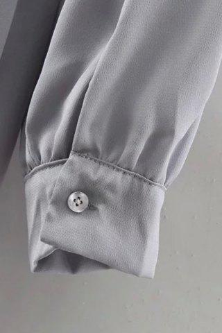 Affordable Long Sleeve Flounce Ruffles Zip-Up Trench Coat - M GRAY Mobile