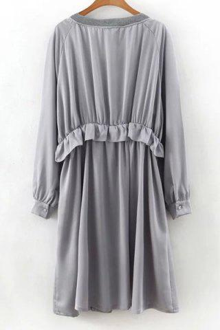 Unique Long Sleeve Flounce Ruffles Zip-Up Trench Coat - M GRAY Mobile