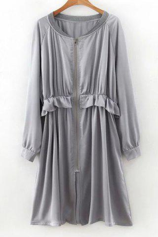 Shop Long Sleeve Flounce Ruffles Zip-Up Trench Coat - M GRAY Mobile
