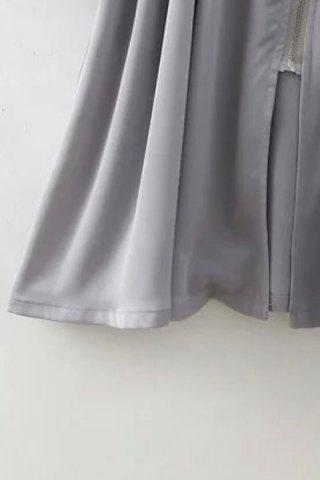 Latest Long Sleeve Flounce Ruffles Zip-Up Trench Coat - M GRAY Mobile