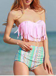 Printed Underwire High Waisted Bikini with Fringe Top