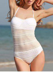 Women's Sexy Halter White See-Through Voile Splicing One Piece Swimwear
