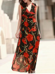 V Neck Sleeveless Sheer Floral Maxi Dress
