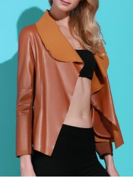Stylish Turn-Down Collar PU Leather Long Sleeve Jacket For Women - BROWN