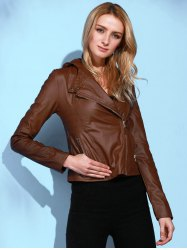 Stylish Hooded Long Sleeve Solid Color PU Women's Jacket - BROWN