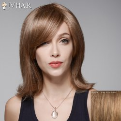 Ladylike Straight Slightly Curled Capelss Fashion Medium Side Bang Human Hair Wig For Women - BROWN WITH BLONDE