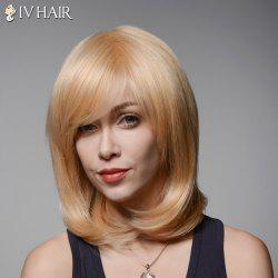 Vogue Medium Side Bang Capless Elegant Straight Tail Adduction Human Hair Wig For Women -