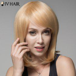 Ladylike Human Hair Straight Side Bang Wig For Women - GOLDEN BROWN WITH BLONDE
