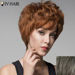 Skilful Human Hair Curly Short Side Bang Wig For Women -