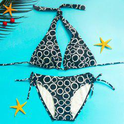 Stylish Halter Polka Dot Print Bikini Set For Women