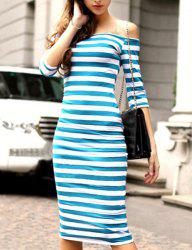 Trendy Off The Shoulder 3/4 Sleeve Striped Skinny Women's Dress -