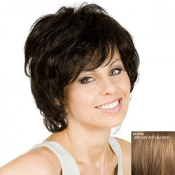 Women's Fluffy Curly Inclined Bang Human Hair Wig -