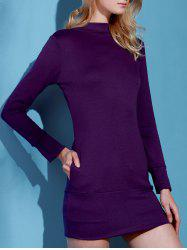 Brief Turtleneck Pure Color Long Sleeve Dress For Women