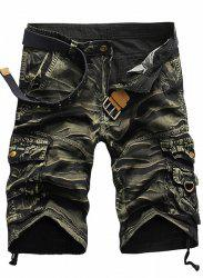 Style militaire Jambe droite Multi-Pocket Loose Fit Zipper Fly Camo Shorts pour hommes - Vert Armu00e9e