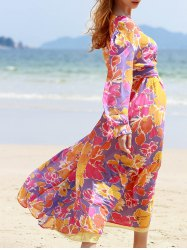 Bohemian V Neck Long Sleeve Floral Print Women's Dress -