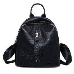 Preppy Solid Color and PU Leather Design Backpack For Women -