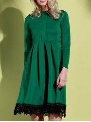 Noble Round Collar Lace Hem Long Sleeve Ruffled Dress For Women - GREEN