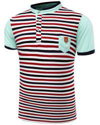 Stand Collar Stripes Print Patch Pocket Short Sleeve Men's Polo T-Shirt -