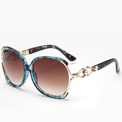 Faux Pearl Inlay Hollow Bow Flecky Gradient Sunglasses - LIGHT BLUE