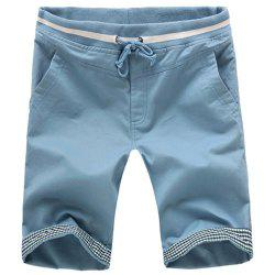 Slimming Straight Leg Plaid Spliced Lace-Up Shorts For Men -