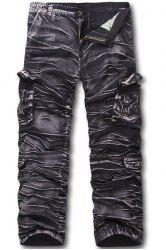 Military Style Zipper Fly Multi-Pocket Straight Leg Camo Cargo Pants For Men