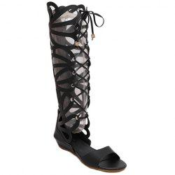 Fashion PU Leather and Hollow Out Design Sandals For Women