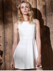 Stylish Round Collar Sleeveless A-Line Dress For Women - WHITE