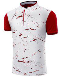 Hot Sale Stand Collar Ink Painting Design Short Sleeve Men's Polo T-Shirt