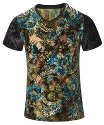 Plus Size V-Neck PU Leather Spliced Floral Print Short Sleeve T-Shirt For Men
