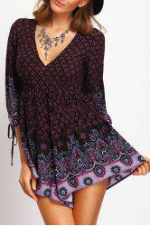 Bohemian Deep V Neck 3/4 Sleeve Tiny Floral Empire Waist Women's Romper