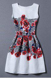 Sweet Round Neck Sleeveless Red Rose Print Women's Sundress -