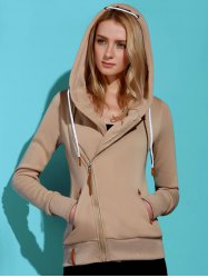 Casual Style Solid Color Long Sleeves Hoodie For Women - KHAKI