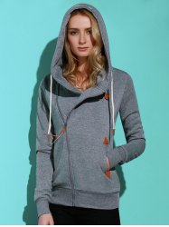 Casual Style Solid Color Long Sleeves Hoodie For Women - SMOKY GRAY