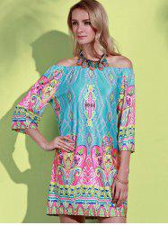 Bohemian Off The Shoulder African Style Print Dress - MINT GREEN