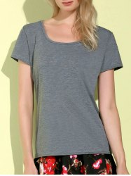 Simple Style Scoop Collar Short Sleeve Slimming Gray T-Shirt For Women -