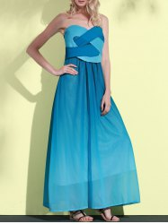 Sweetheart Neck Ombre Strapless Maxi Dress - LAKE BLUE