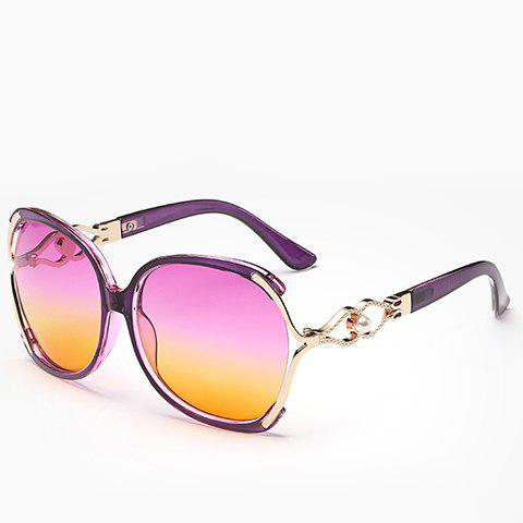 Faux Pearl Inlay Hollow Bow Gradient SunglassesACCESSORIES<br><br>Color: PURPLE; Group: Adult; Gender: For Women; Style: Fashion; Shape: Oversized; Lens material: Resin; Frame material: Acetate; Frame Color: Multicolor; Lens height: 5.3CM; Lens width: 6.1CM; Temple Length: 13.5CM; Nose: 1.7CM; Frame Length: 14CM; Weight: 0.084kg; Package Contents: 1 x Sunglasses;